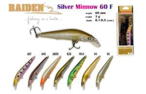 Воблер RAIDEN «Silver Minnow» 60 F-вес 3 грамма размер-60 мм